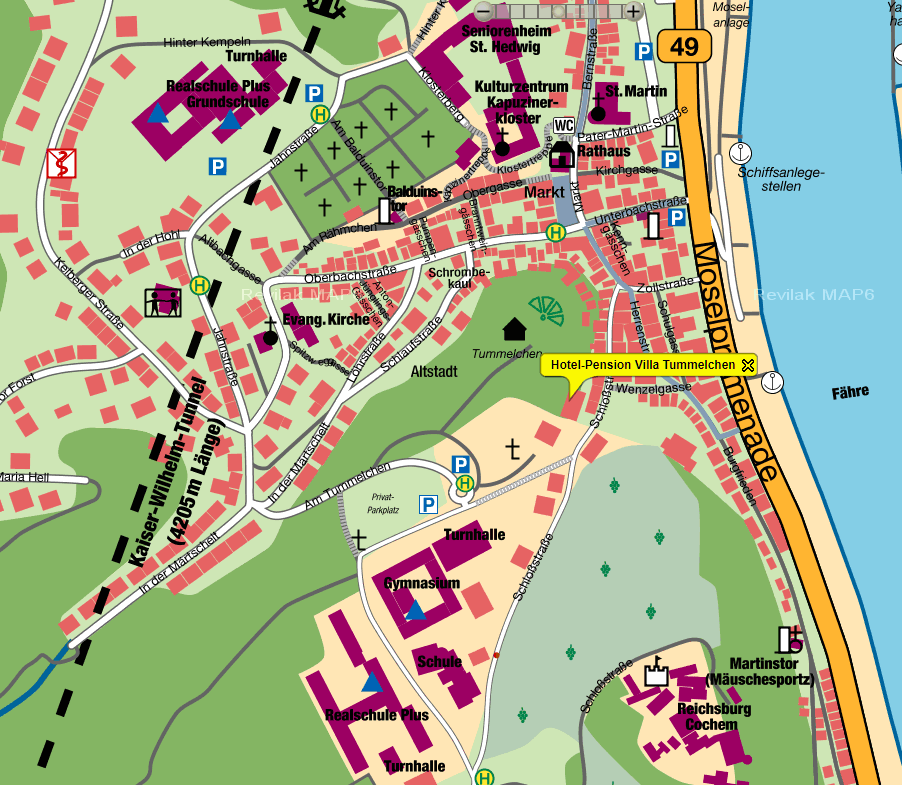 Routebeschrijving Hotel Villa Tummelchen